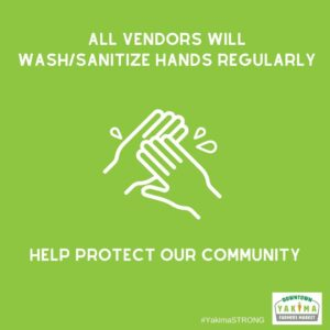 All vendors will wash/sanitize hands regularly.