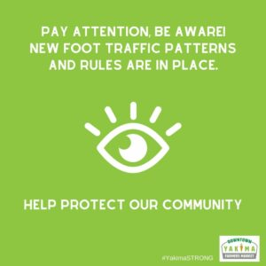 Pay attention, be aware! New foot traffic patterns and rules are in place.